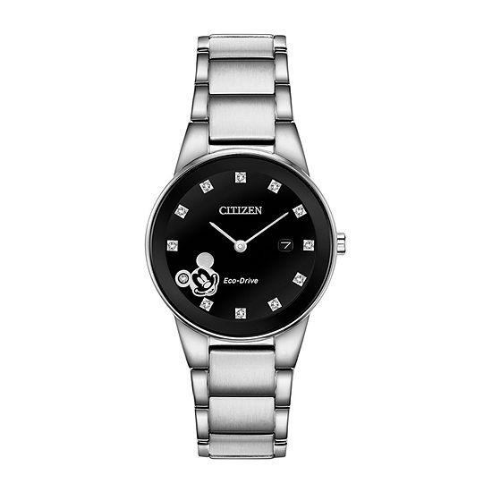 Citizen Disney Mickey Mouse Womens Silver Tone Stainless Steel Bracelet Watch - Ga1051-58w