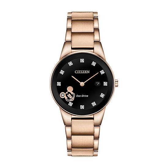 Citizen Mickey Mouse Womens Rose Goldtone Bracelet Watch-Ga1056-54w