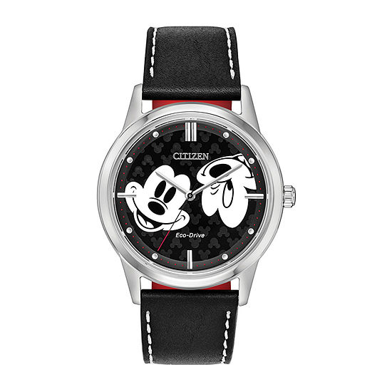 Citizen Disney Mickey Mouse Mens Black Leather Strap Watch-Fe7060-05w
