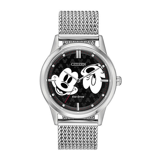 Citizen Disney Mickey Mouse Mens Silver Tone Stainless Steel Bracelet Watch-Fe7060-56w