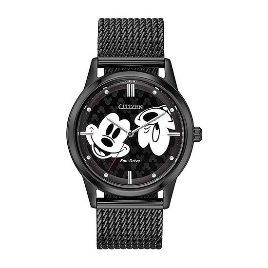 Citizen Disney Mickey Mouse Unisex Black Stainless Steel Bracelet Watch-Fe7065-52w
