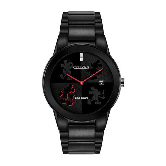 Citizen Disney Mickey Mouse Mens Black Stainless Steel Bracelet Watch-Au1069-57w