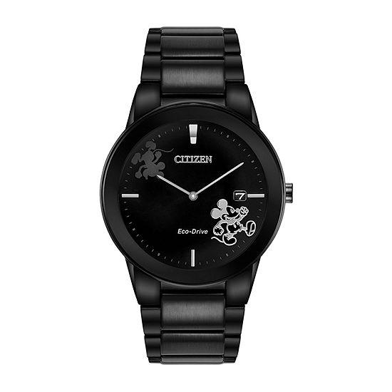 Citizen Disney Mickey Mouse Mens Black Stainless Steel Bracelet Watch-Au1068-50w