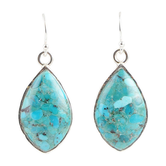 Enhanced Blue Turquoise Sterling Silver Pear Drop Earrings