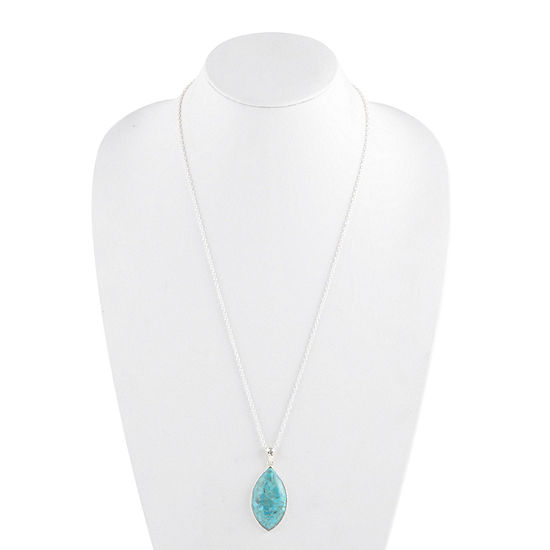 Womens Enhanced Blue Turquoise Sterling Silver Pear Pendant Necklace