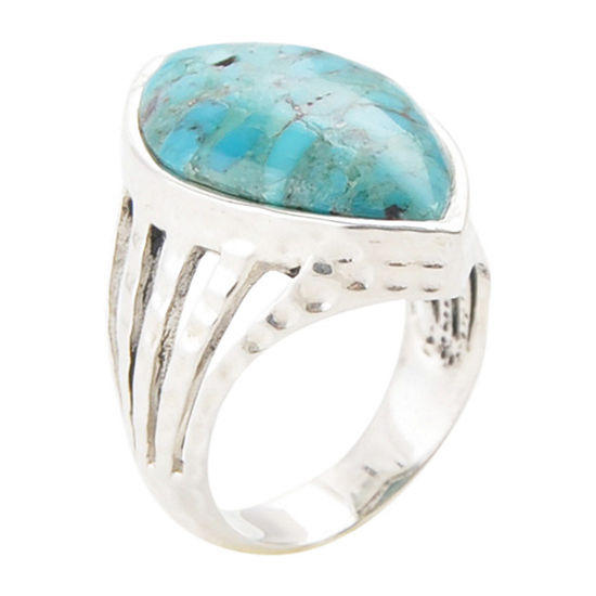 Womens Enhanced Blue Turquoise Sterling Silver Pear Cocktail Ring