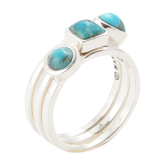 Womens Enhanced Blue Turquoise Sterling Silver Stackable Ring