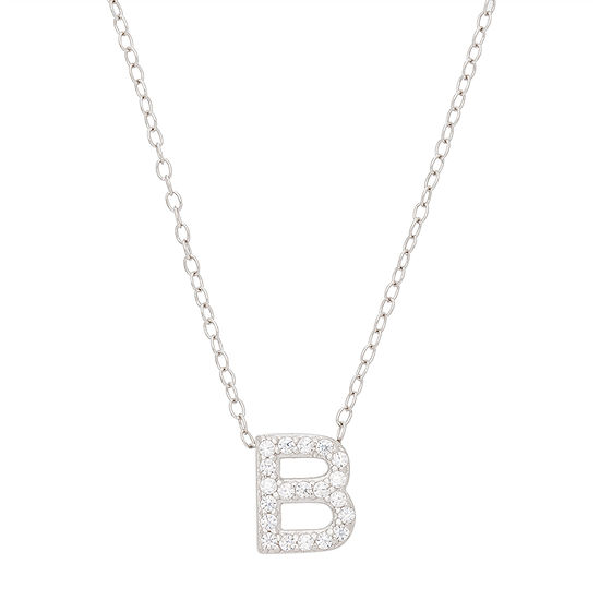 Initial Womens 1/8 CT. T.W. White Cubic Zirconia Sterling Silver Pendant Necklace