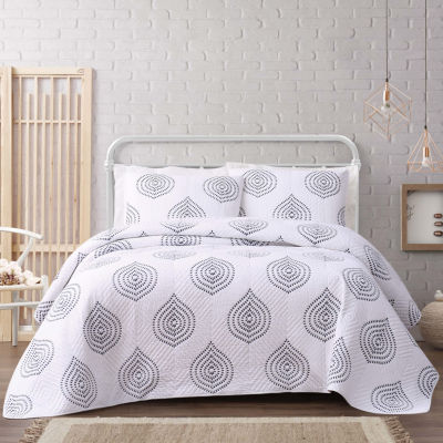 Cottage Classics Embroidered Ogee Floral Embroidered Quilt Set