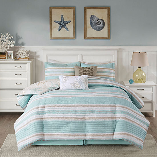 Harbor House Ocean Reef 6 Pc Stripes Reversible Comforter Set