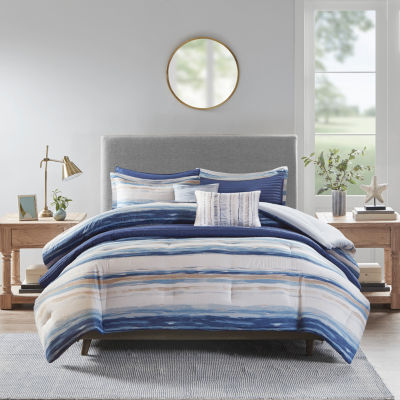 Madison Park Anchorage 8-pc. Stripes Reversible Comforter and Coverlet Set