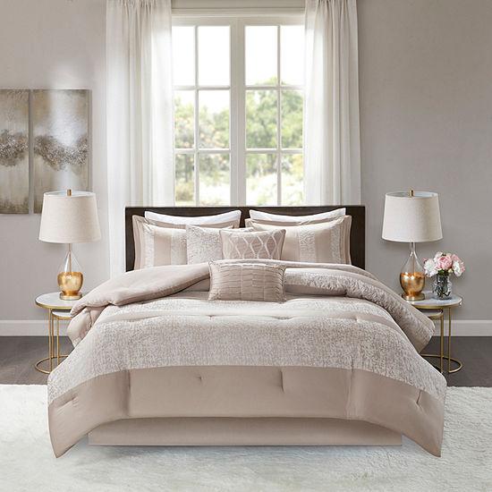 Madison Park Elicia 7 Pc Chenille Jacquard Comforter Set