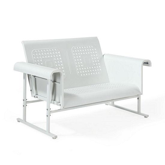 Crosley Veranda Loveseat Glider In Alabaster White Patio Sofa
