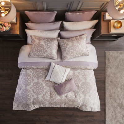 Madison Park Essentials Freda 16-pc. Damask and Scroll Complete Bedding Set