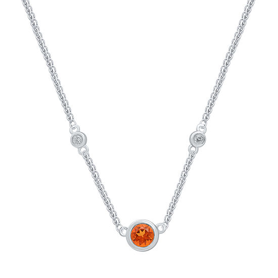 Marvel Universe Fine Jewelry By Marvel Womens Diamond Accent Genuine Orange Topaz Sterling Silver Pendant Necklace