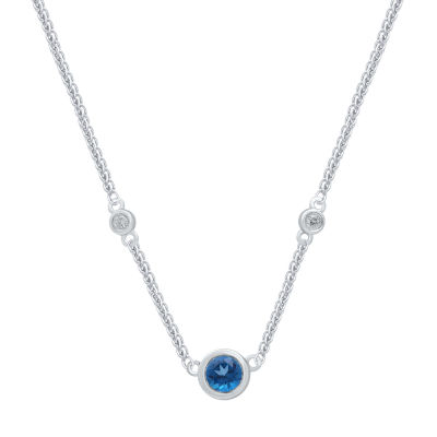 Universe Fine Jewelry By Marvel Womens Diamond Accent Genuine Blue Topaz Pendant Necklace