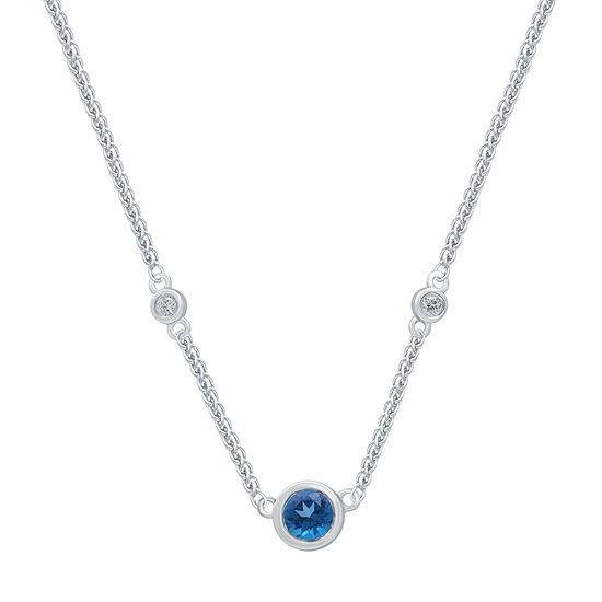 Marvel Universe Fine Jewelry By Marvel Womens Diamond Accent Genuine Blue Topaz Sterling Silver Pendant Necklace