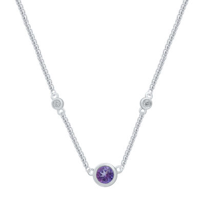 Universe Fine Jewelry By Marvel Womens Diamond Accent Genuine Purple Topaz Pendant Necklace