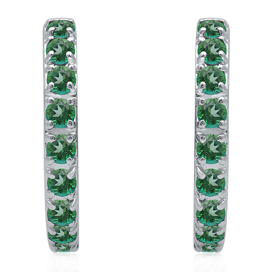 Universe Fine Jewelry By Marvel Genuine Green Topaz Sterling Silver 4.7mm Hoop Earrings