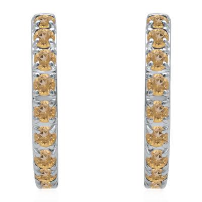 Universe Fine Jewelry By Marvel Genuine Yellow Topaz 4.7mm Hoop Earrings