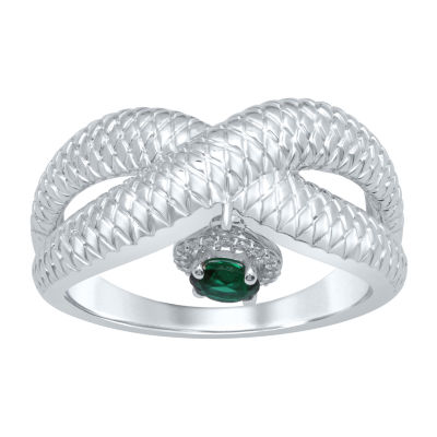 Universe Fine Jewelry By Marvel Womens Diamond Accent Genuine Green Topaz Round Cocktail Ring