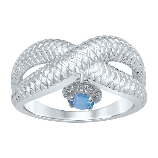 Universe Fine Jewelry By Marvel Womens Diamond Accent Genuine Blue Topaz Sterling Silver Round Cocktail Ring