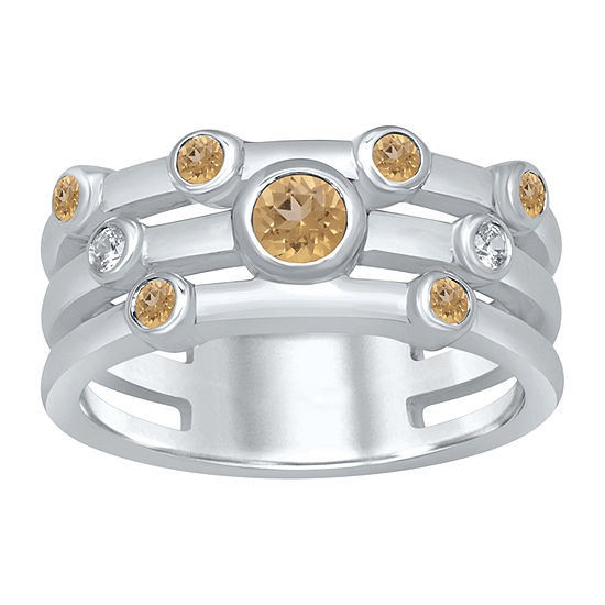 Universe Fine Jewelry By Marvel Womens Diamond Accent Genuine Yellow Topaz Round Cocktail Ring