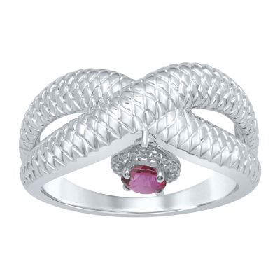 Universe Fine Jewelry By Marvel Womens Diamond Accent Genuine Red Topaz Round Cocktail Ring