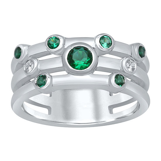 Marvel Universe Fine Jewelry By Marvel Womens Diamond Accent Genuine Green Topaz Sterling Silver Round Cocktail Ring