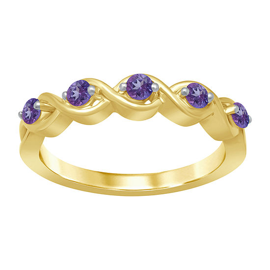 Universe Fine Jewelry By Marvel Womens Genuine Purple Topaz 14K Gold Over Silver Round Cocktail Ring