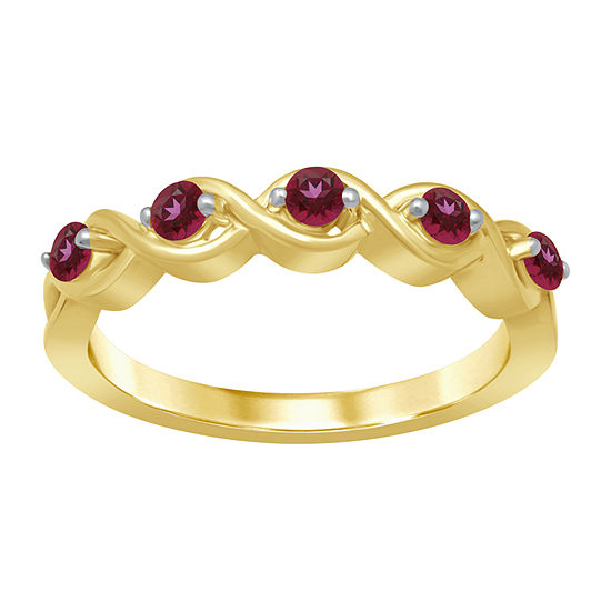 Universe Fine Jewelry By Marvel Womens Genuine Red Topaz 14K Gold Over Silver Round Cocktail Ring