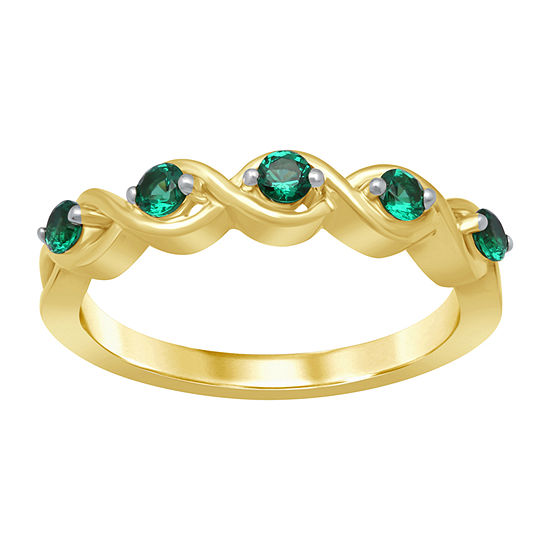 Marvel Universe Fine Jewelry By Marvel Womens Genuine Green Topaz 14K Gold Over Silver Round Cocktail Ring