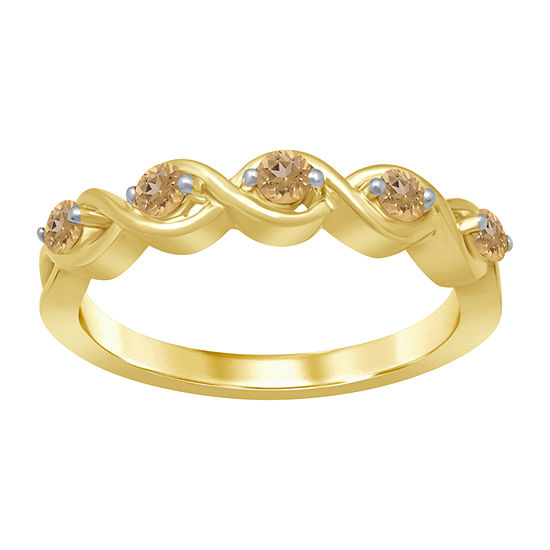 Universe Fine Jewelry By Marvel Womens Genuine Yellow Topaz 14K Gold Over Silver Round Cocktail Ring
