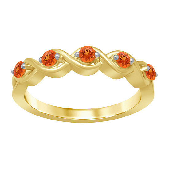 Marvel Universe Fine Jewelry By Marvel Womens Genuine Orange Topaz 14K Gold Over Silver Round Marvel Cocktail Ring