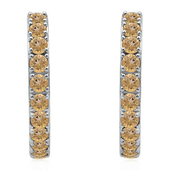 Marvel Universe Fine Jewelry By Marvel Genuine Yellow Topaz Sterling Silver 4.7mm Hoop Earrings