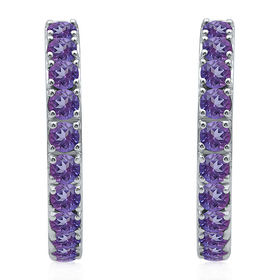Marvel Universe Fine Jewelry By Marvel Genuine Purple Topaz Sterling Silver 4.7mm Hoop Earrings