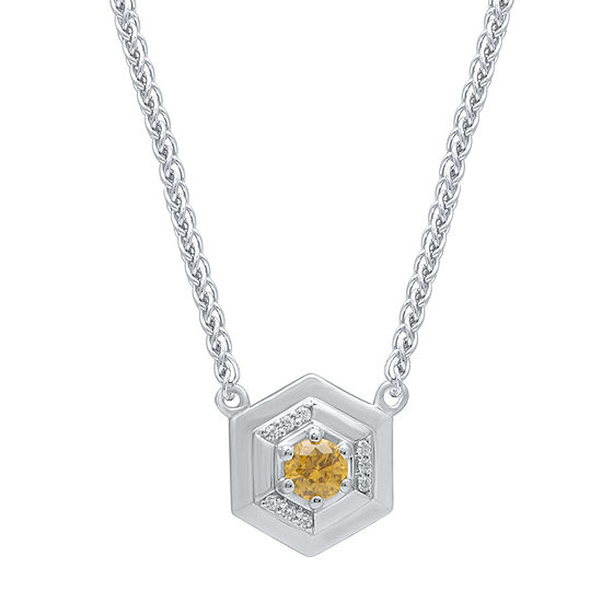 Universe Fine Jewelry By Marvel Womens Diamond Accent Genuine Yellow Topaz 14k Two Tone Gold Over Silver Pendant Necklace
