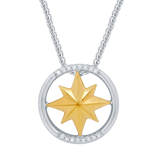 Marvel Universe Fine Jewelry By Marvel Womens Diamond Accent Genuine White Diamond 14K Two Tone Gold Over Silver Marvel Pendant Necklace