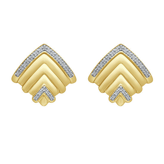 Marvel Universe Fine Jewelry By Marvel 1/8 CT. T.W. Genuine White Diamond 14K Gold Over Silver 18.2mm Black Panther Stud Earrings