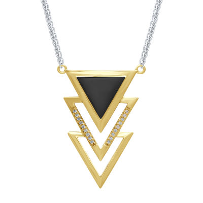 Universe Fine Jewelry By Marvel Womens Diamond Accent Genuine White Diamond 14K Two Tone Gold Over Silver Black Panther Pendant Necklace