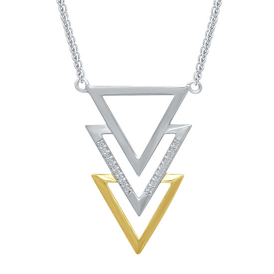 Marvel Universe Fine Jewelry By Marvel Womens Diamond Accent Genuine White Diamond 14K Two Tone Gold Over Silver Black Panther Pendant Necklace