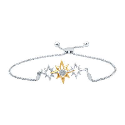 Universe Fine Jewelry By Marvel Diamond Accent Genuine White Diamond 14K Two Tone Gold Over Silver Bolo Bracelet