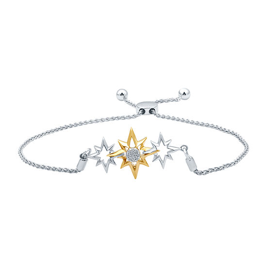 Marvel Universe Fine Jewelry By Marvel Diamond Accent Genuine White Diamond Captain Marvel 14K Two Tone Gold Over Silver Bolo Bracelet