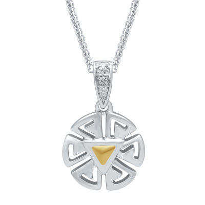 Universe Fine Jewelry By Marvel Womens Diamond Accent Genuine White Diamond 14K Two Tone Gold Over Silver Iron Man Pendant Necklace