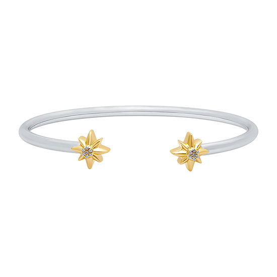 Marvel Universe Fine Jewelry By Marvel Diamond Accent Genuine White Diamond 14K Two Tone Gold Over Silver Captain Marvel Bangle Bracelet