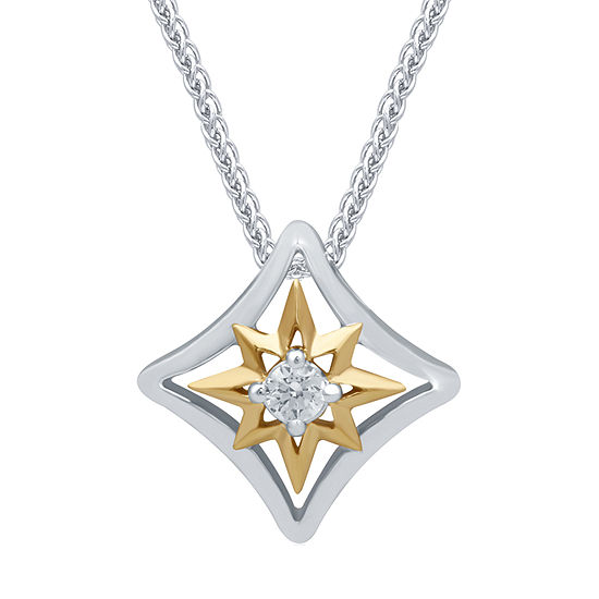 Universe Fine Jewelry By Marvel Womens Diamond Accent Genuine White Diamond 14K Two Tone Gold Over Silver Captain Marvel Pendant Necklace