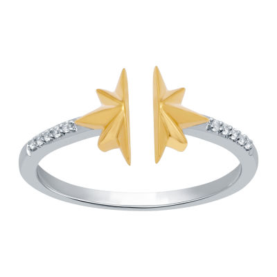 Universe Fine Jewelry By Marvel Womens Diamond Accent Genuine White Diamond 14K Two Tone Gold Over Silver Cocktail Ring