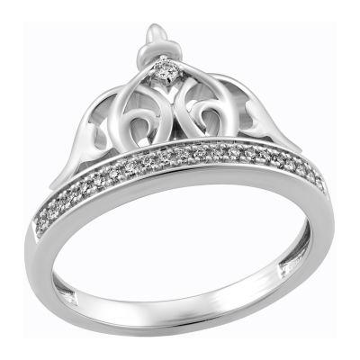 Enchanted Disney Fine Jewelry Womens 1/10 CT. T.W. Genuine Diamond Crown Aladdin Cocktail Ring