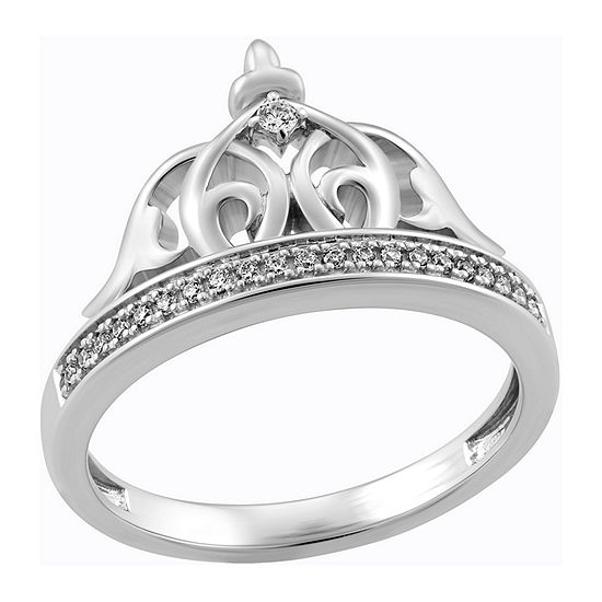 Enchanted Disney Fine Jewelry Womens 1/10 CT. T.W. Genuine Diamond Sterling Silver Crown Aladdin Cocktail Ring