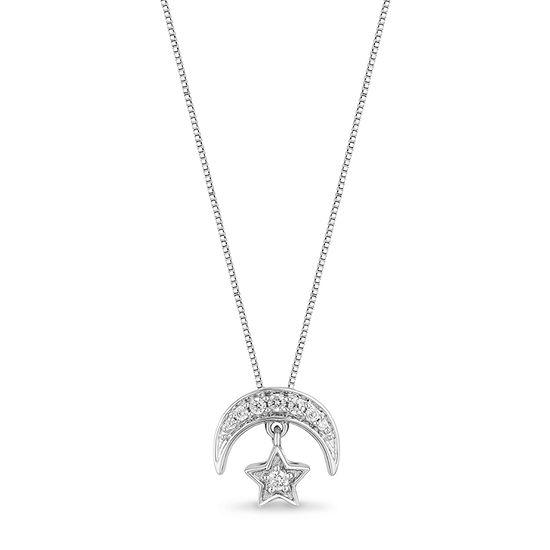 Enchanted Disney Fine Jewelry Womens 1/10 CT. T.W. Genuine Diamond Sterling Silver Aladdin Pendant
